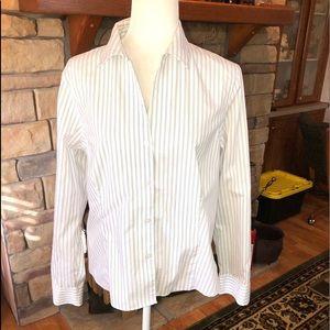 Ann Klein size Large long sleeve blk/white striped